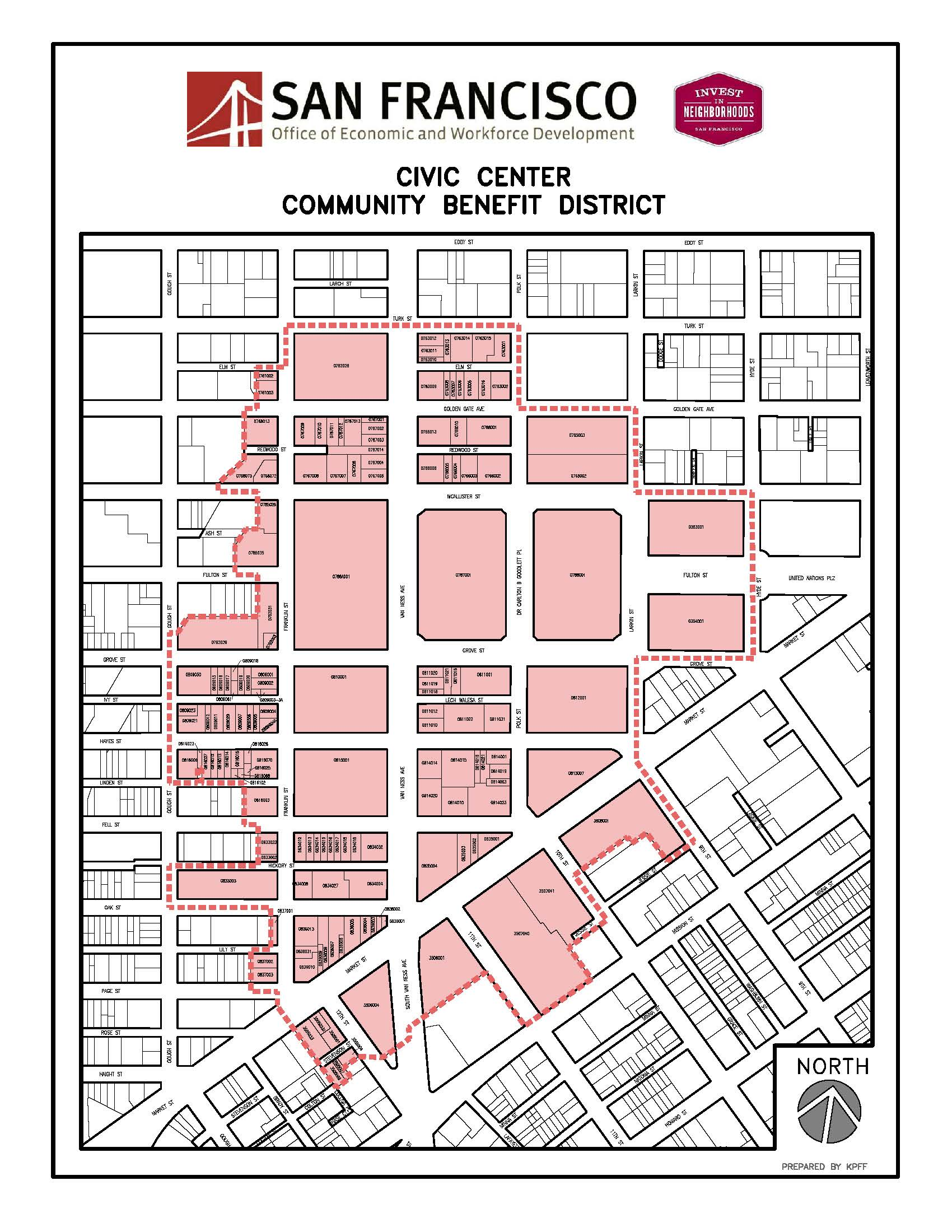 Map of Civic Center Community Benefit District