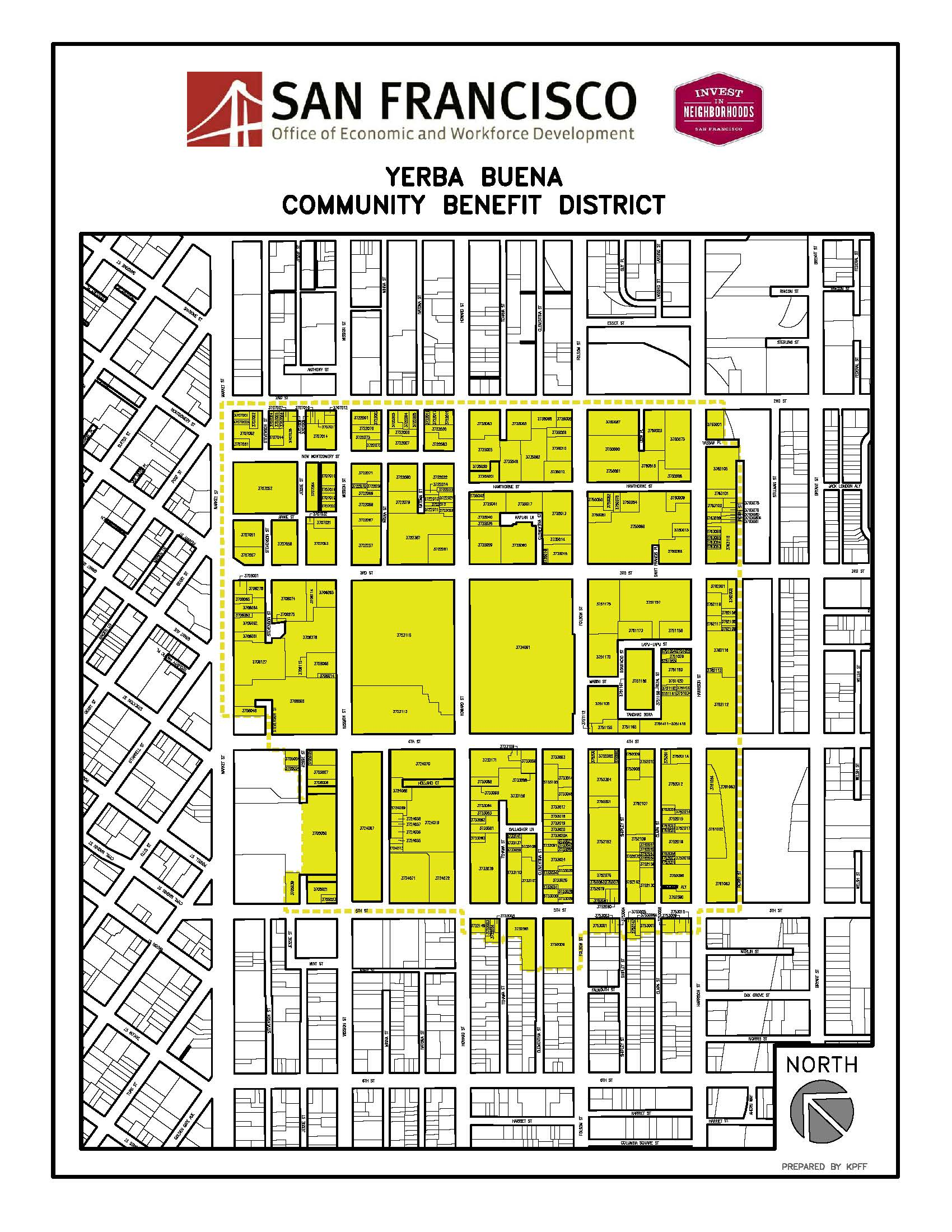 Map of Yerba Buena Community Benefit District
